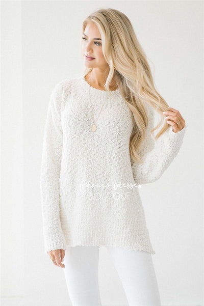 Cozy Fall Popcorn Pullover Round Neck Sweater Tops vendor-unknown Ivory S