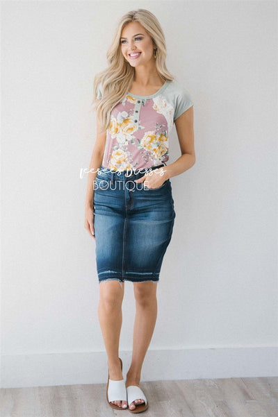 Pop of Lace Short Sleeve Floral Top