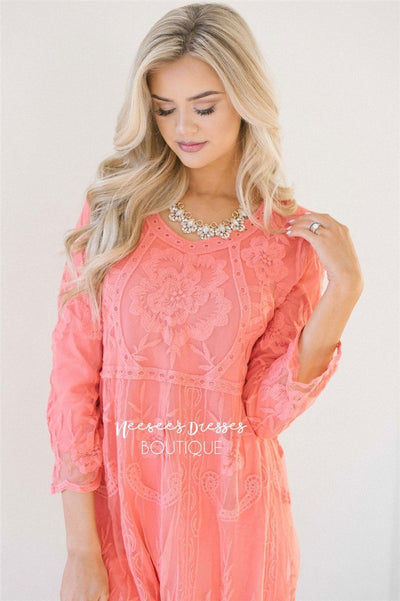 Day Dreamer Lace Dress in Coral Modest Dresses vendor-unknown