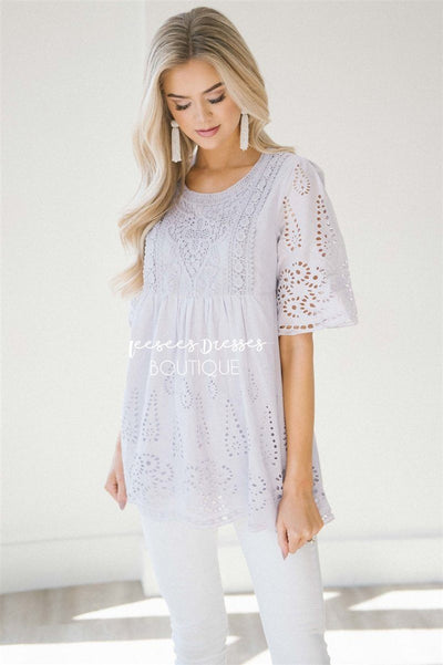 Baby Doll Eyelet Embroidered Top Tops vendor-unknown S Lavender
