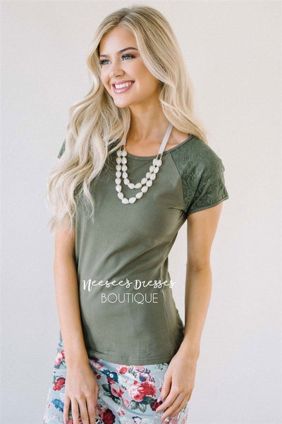 Olive Lace Sleeve Top Tops vendor-unknown Olive XS