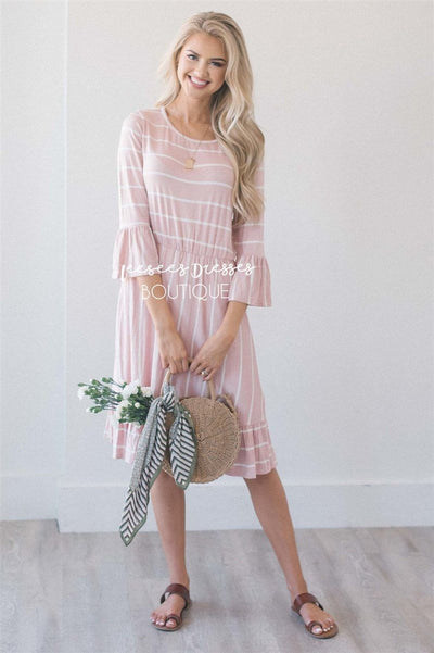 The Tiffany Modest Dresses vendor-unknown S Light Pink & Ivory Stripes
