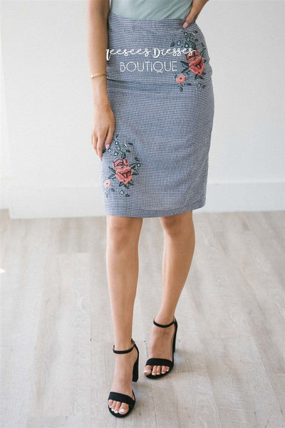 Gingham Floral Embroidered Pencil Skirt Skirts vendor-unknown