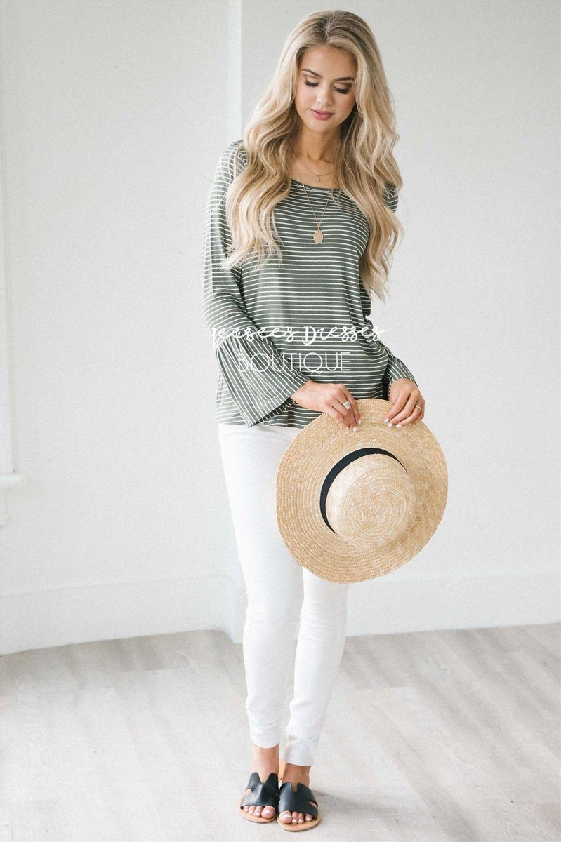Striped Long Bell Sleeve Top