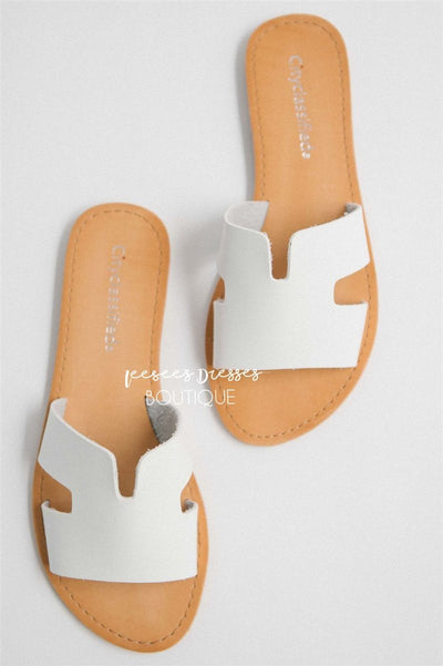Cutout Slide Sandals Accessories & Shoes vendor-unknown White 5.5