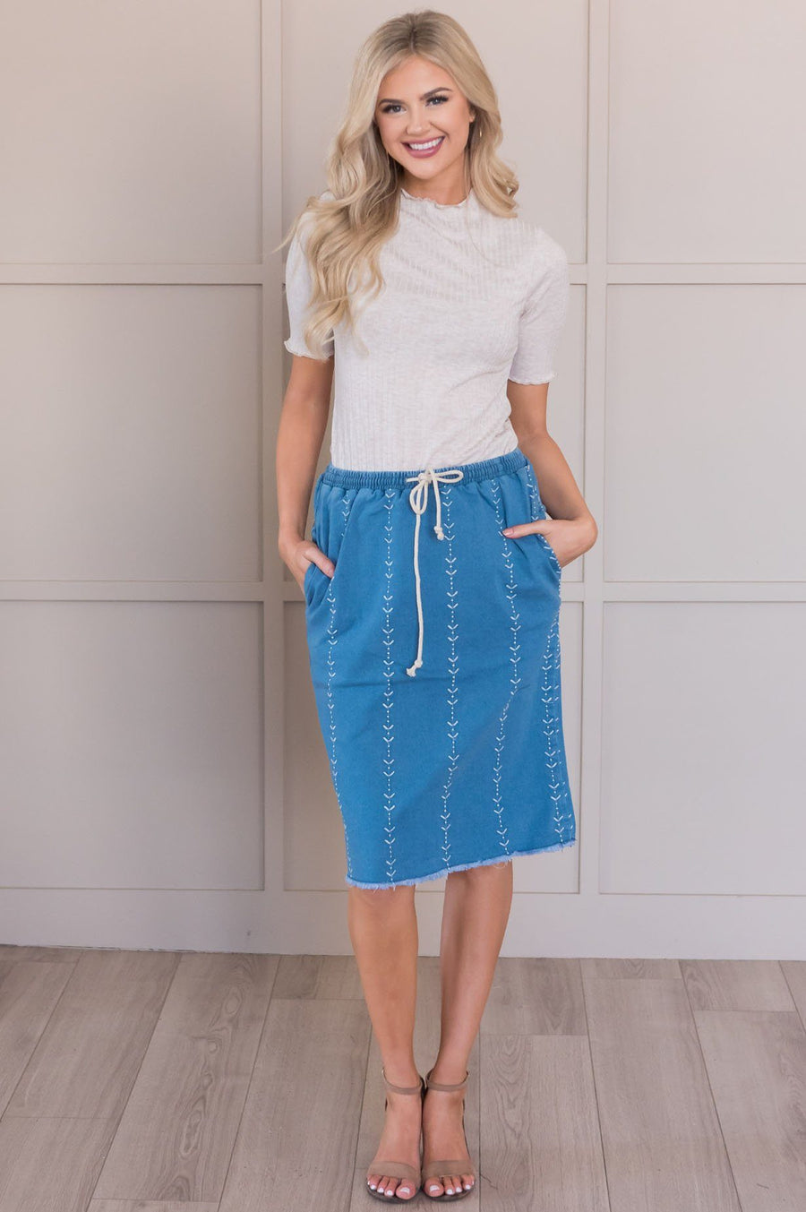 Just Be You Embroidered Jean Skirt