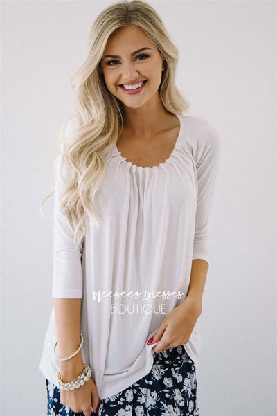 Cute with Pleats Blouse Tops vendor-unknown XS Ivory