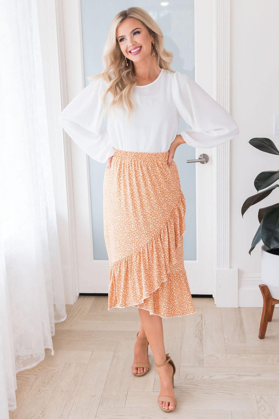 New Attitude Modest Ruffle Skirt