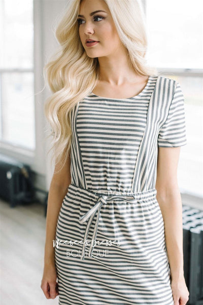 68d72feec0a8 Gray Cream Stripe Modest Summer Dress | Cute Modest Clothes | Modest ...