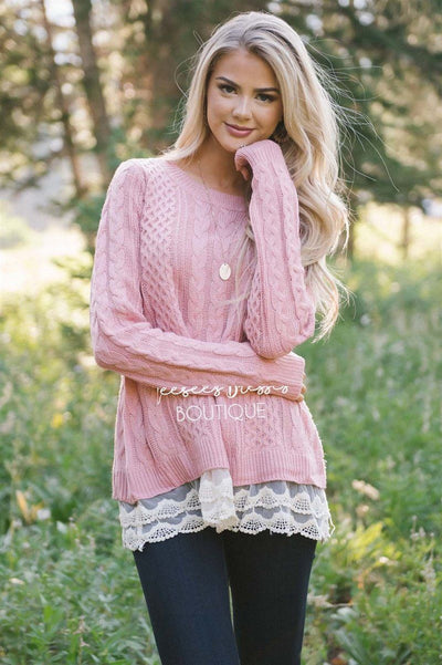 Scallop Lace Hem Cable Knit Sweater Tops vendor-unknown S Dusty Pink