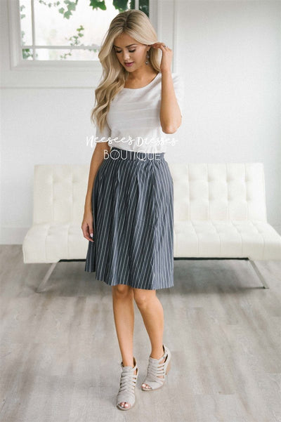 Striped Aline Skirt Skirts vendor-unknown Slate Gray XS