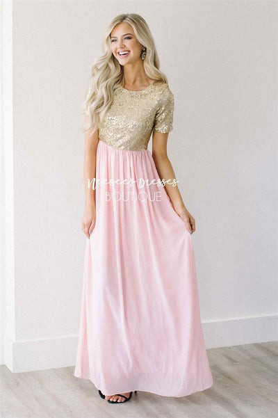 The Elsa in Whisper Pink Modest Dresses vendor-unknown Whisper Pink S