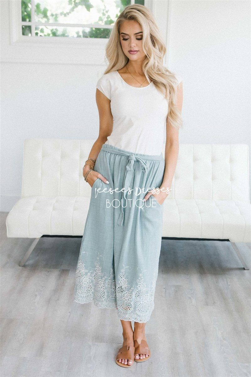 5fa7285a9be1 Embroidered Scallop Trim Tie Waist Skirt Skirts vendor-unknown Dusty Sage S