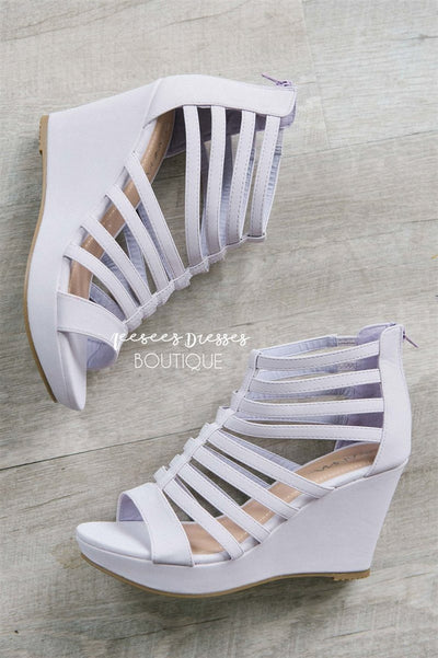 Summer Lilac Strappy Wedges Accessories & Shoes vendor-unknown