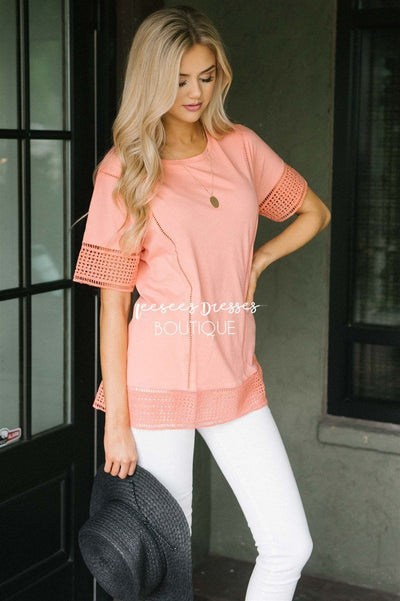 Eyelet Lace Trim Detail Top Tops vendor-unknown Coral XS