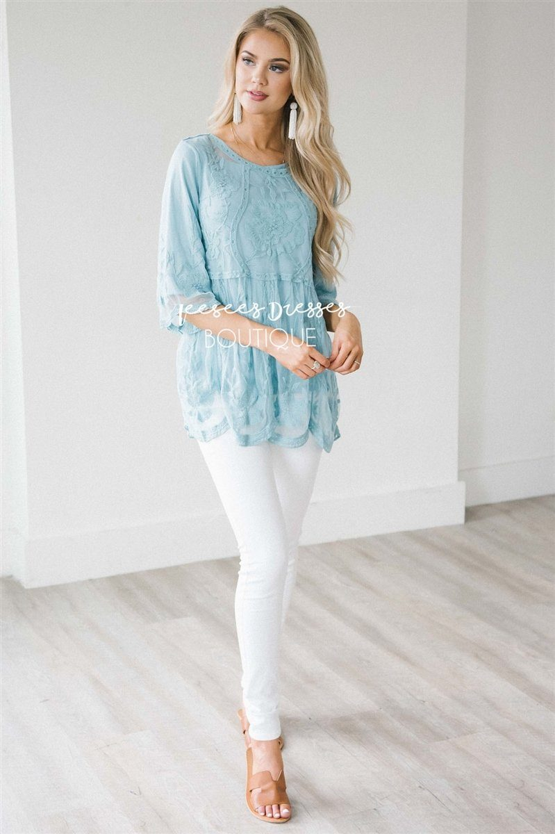 Day Dreamer Lace Blouse Tops vendor-unknown S Lake Blue