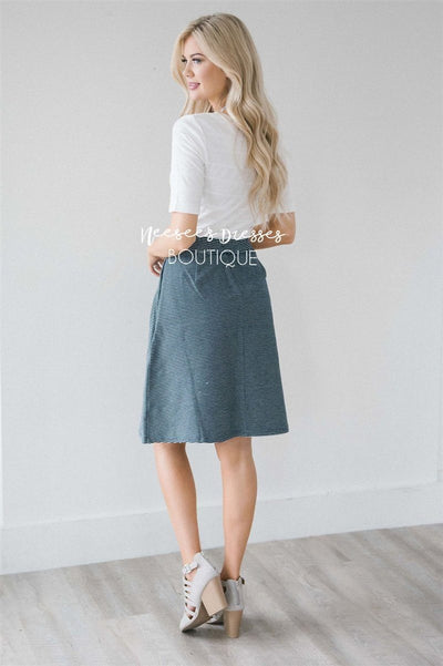 Navy Striped Aline Pocket Skirt