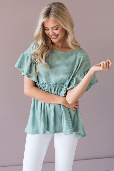 Dare To Dream Modest Babydoll Blouse Tops vendor-unknown