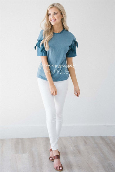 Double Tie Sleeve Top Tops vendor-unknown