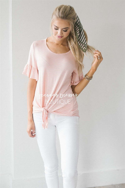 Striped Ruffle Sleeve & Tie Front Top Tops vendor-unknown S Light Coral Stripes