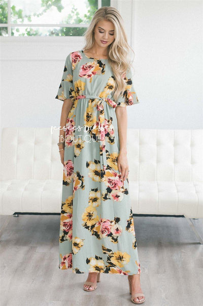 The Kara Modest Dresses vendor-unknown Sage with Pink & Yellow Floral S