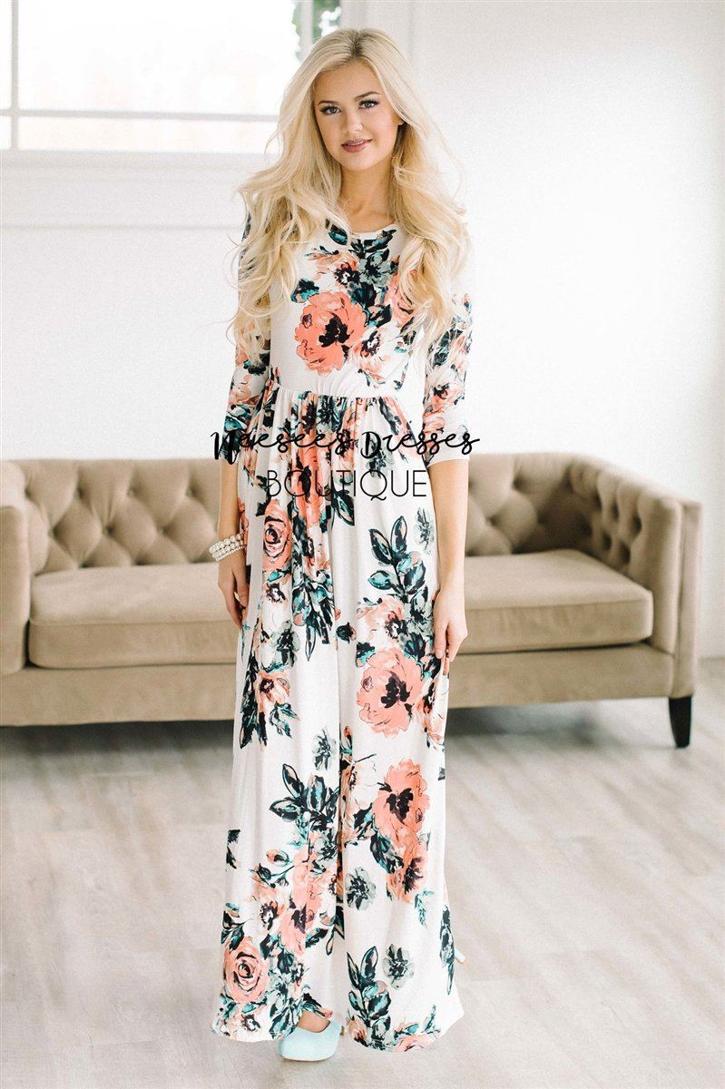 Ivory Watercolor Floral Maxi Dress New Year SALE vendor-unknown Ivory S