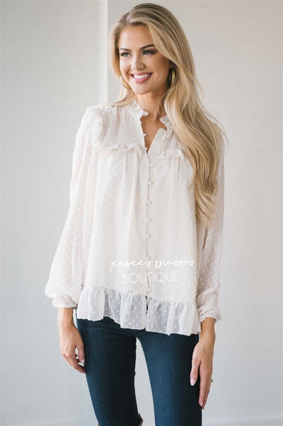 Ruffle Yoke Button Front Blouse Tops vendor-unknown Ivory S