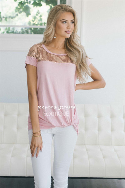 Sequin Shoulder Twist Top Tops vendor-unknown S Pink