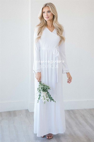 The Ainsley Modest Dresses vendor-unknown S White