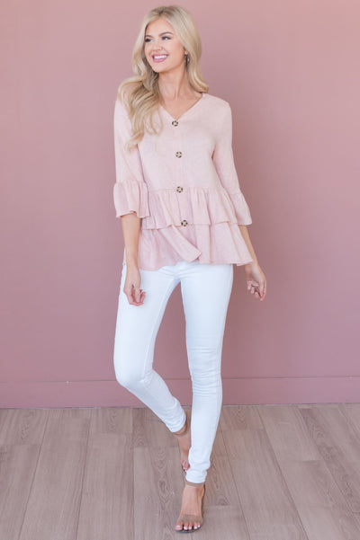 Love For A Lifetime Modest Button Blouse Tops vendor-unknown