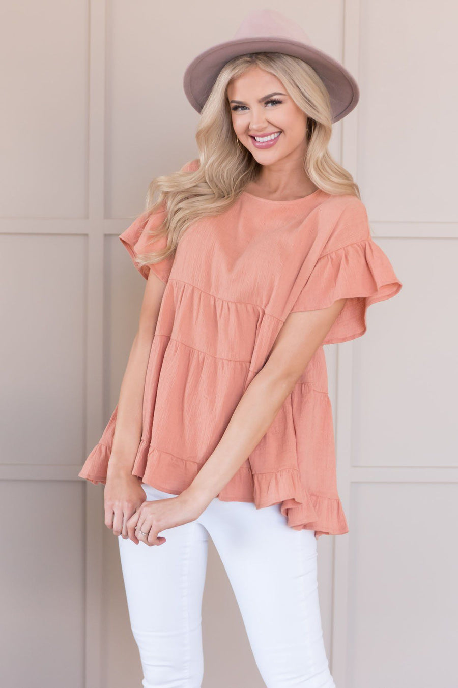 Oh So Thoughtful Modest Tiered Blouse Tops vendor-unknown