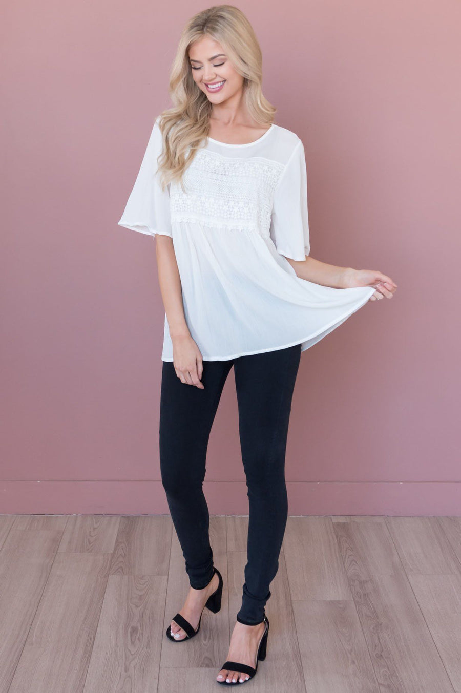 Delightful Days Ahead Modest Lace Bodice Top