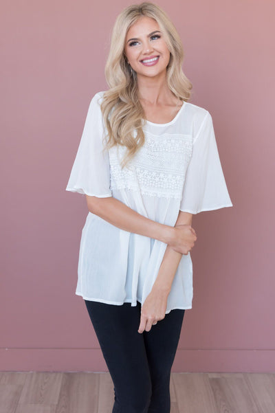 Delightful Days Ahead Modest Lace Bodice Top Tops vendor-unknown