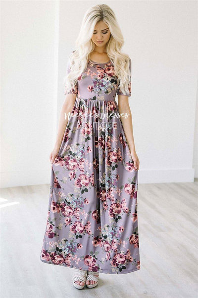 389d175e6ecbe Dusty Lilac Floral Spring Modest Maxi Dress Church | Beautiful ...