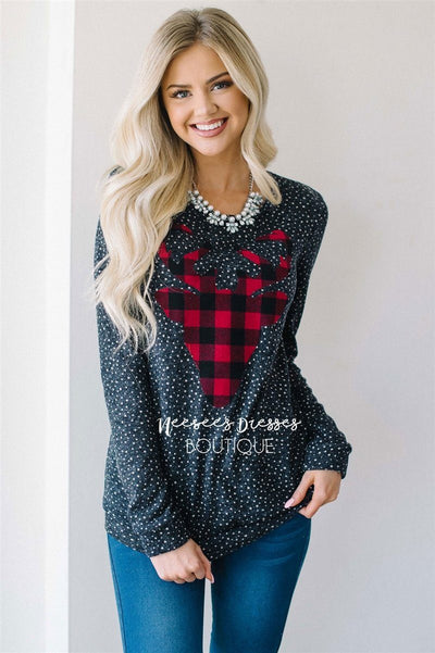 Falling Snow Plaid Reindeer Sweater Tops vendor-unknown Navy S