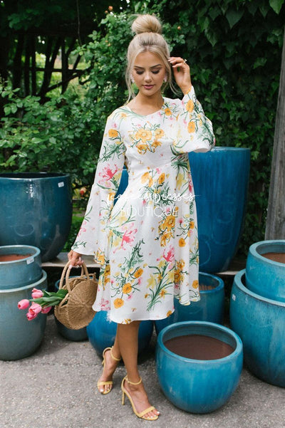 The Carina Modest Dresses vendor-unknown S Ivory Floral