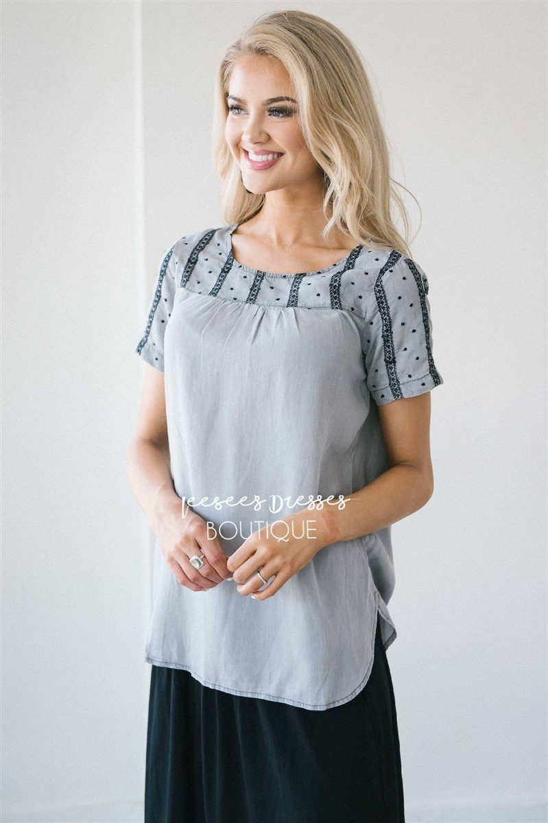 Embroidered Chambray Top Tops vendor-unknown XS Faded Gray Chambray