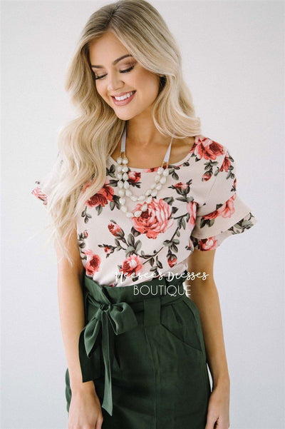 Floral Double Ruffle Sleeve Top Tops vendor-unknown XS Floral