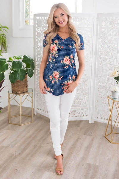 Beautiful Day Modest V-Neck Top Tops vendor-unknown
