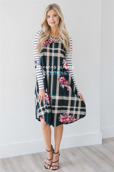The Wendy Modest Dresses vendor-unknown Black Teal Plaid/Fuchsia Floral S