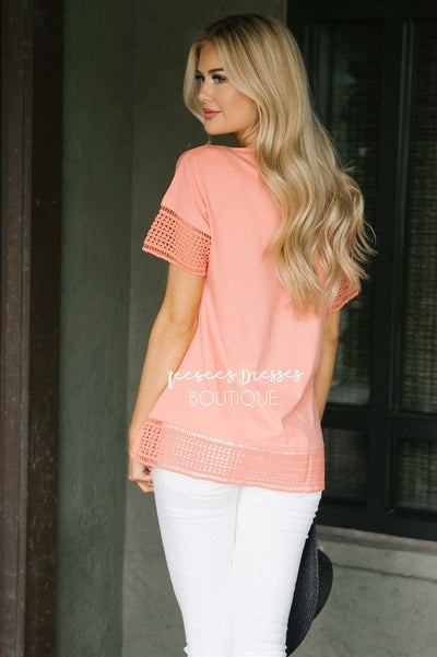 Eyelet Lace Trim Detail Top Tops vendor-unknown