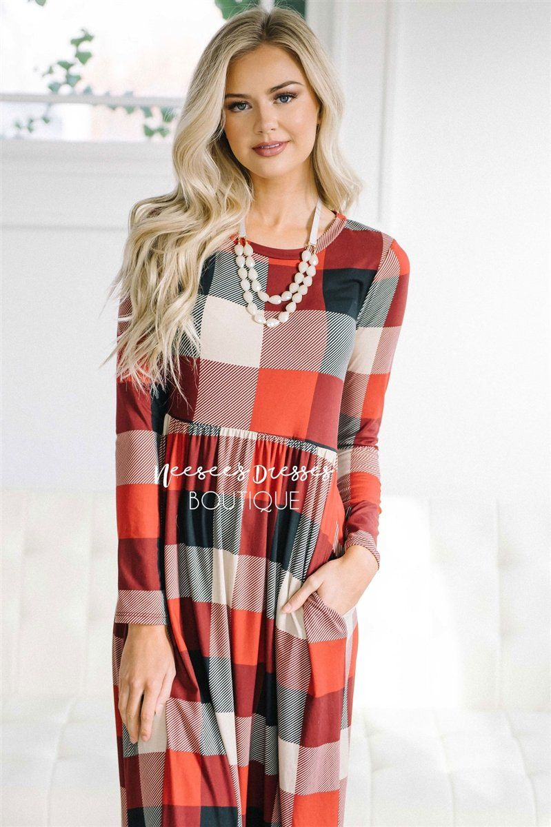 The Holland Modest Dresses vendor-unknown Deep Red Plaid S