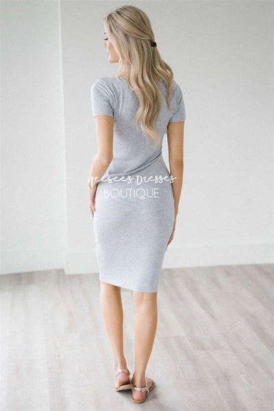 Gray Pencil Dress Champagne Shimmer Top Modest Dresses vendor-unknown