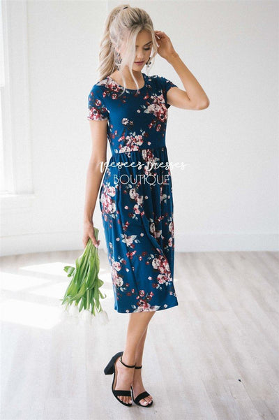 The Melody in Short Sleeves Modest Dresses vendor-unknown Navy S