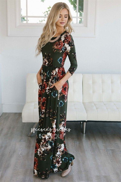 Olive Watercolor Floral Maxi Dress Modest Dresses vendor-unknown