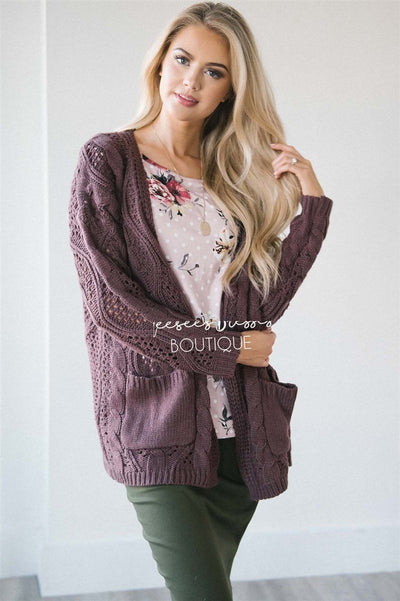Over Sized Crochet Knit Cardigan Tops vendor-unknown S Dusty Plum