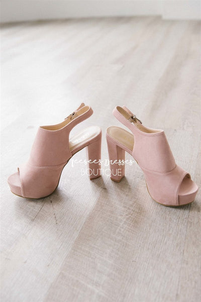 Suede Open Toe Heeled Sandals Accessories & Shoes vendor-unknown Pink 5.5