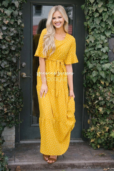 Polka Dot Flutter Sleeve Tiered Maxi Dress Modest Dresses vendor-unknown Canary Yellow S