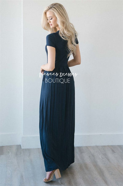 Short Sleeve Pleated Maxi Dress Modest Dresses vendor-unknown