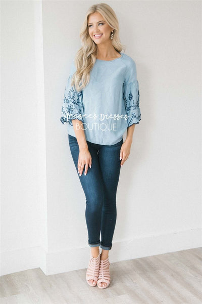 Embroidered Chambray Bell Sleeve Top Tops vendor-unknown Light Blue XS